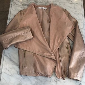 *NWOT* JustFab metallic pink moto jacket